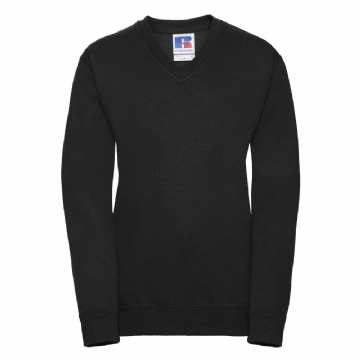 WICK HIGH SCHOOL BLACK  V-NECK SWEATSHIRT WITH EMBROIDERED LOGO